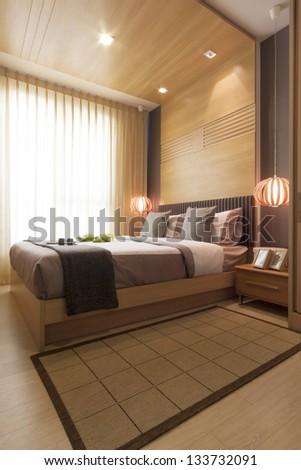 Luxury Modern Japanese Style Bedroom Stock Photo