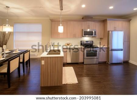 Luxury modern kitchen. Interior design of a brand new house.
