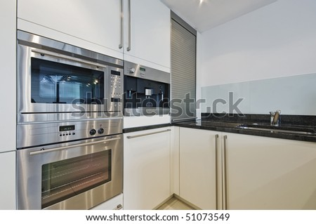 luxury modern kitchen with built in electric appliances