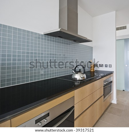 Luxury modern kitchen with large extractor fan and two electric ovens
