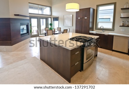 Luxury modern kitchen with the living room and the fireplace at the back. Interior design.