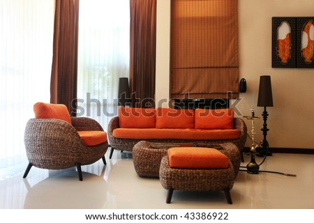 Luxury modern living room. predominantly orange color