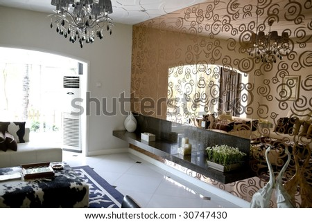 modern mirrors for living room on Luxury Modern Living Room With Mirror Wall Stock Photo 30747430