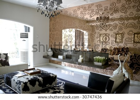 modern mirrors for living room on Luxury Modern Living Room With Mirror Wall Stock Photo 30747436