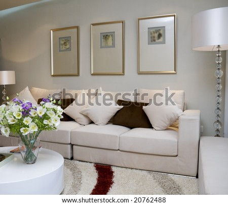 Luxury modern living room with nice sofa - stock photo