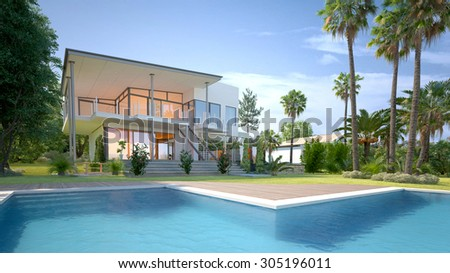 Luxury modern white house or villa with angular walls and large windows overlooking a tropical landscaped garden with palm trees and curving blue swimming pool. 3d Rendering