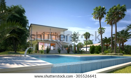 Luxury modern white house or villa with angular walls and large windows overlooking a tropical landscaped garden with palm trees and cool blue swimming pool. 3d Rendering