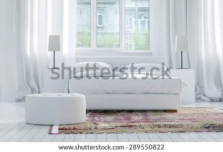 Luxury monochromatic white bedroom interior with elegant long drapes on large windows, and a double bed with cabinets and lamps on an oriental rug on a white parquet floor. 3d Rendering.