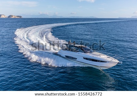 luxury motor yacht in navigation, aerial view Stock photo ©