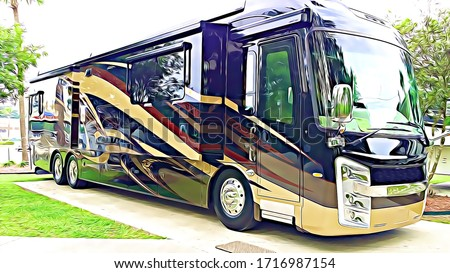 Luxury Motorhome recreational vehicle RV parked at campground on a concrete pad Stock foto ©