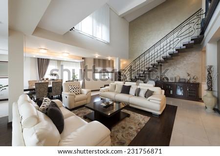 Luxury multilevel living room interior  #231756871