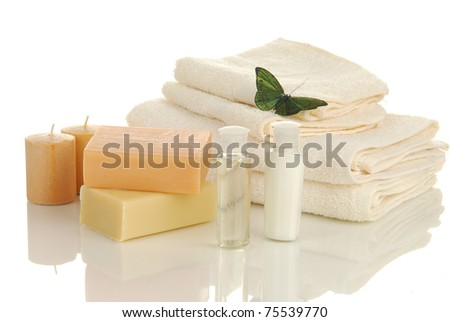 Luxury natural soaps with shampoo, lotion, hand towels and scented candles