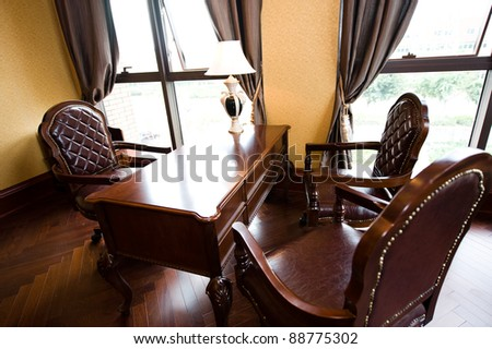 Luxury office interior on brown color
