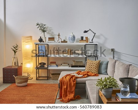 Luxury office room detail horizontal banner behind white wall decoration concept