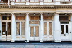 Luxury old storefront in remodeling in New York City
