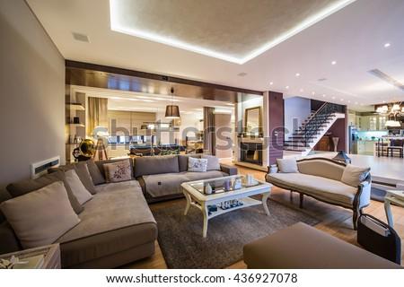 Luxury open plan apartment interior