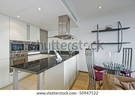 Luxury Open Plan Kitchen With Dining Table Stock Photo 50947522 ...