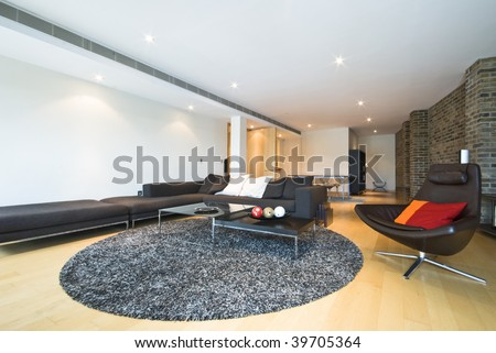 luxury open plan living area with designer furniture