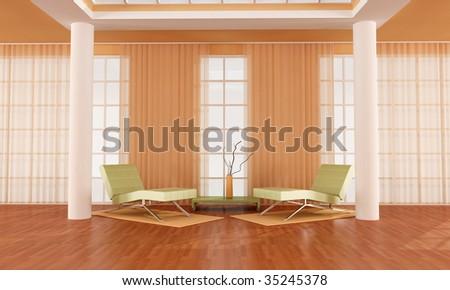 Luxury Orange And Green Living Room Rendering Stock Photo Orange And Green  Living Room Part 28