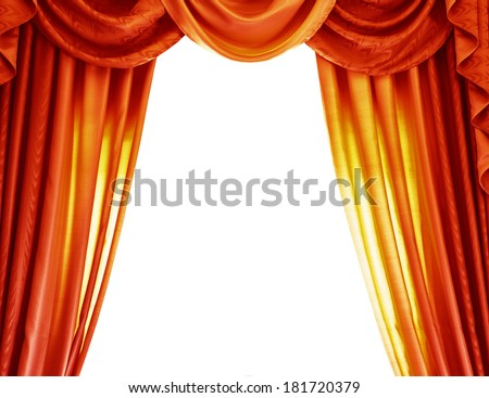 Luxury orange curtains isolated on white background, abstract border, open curtain on the theater, theatrical performance concept