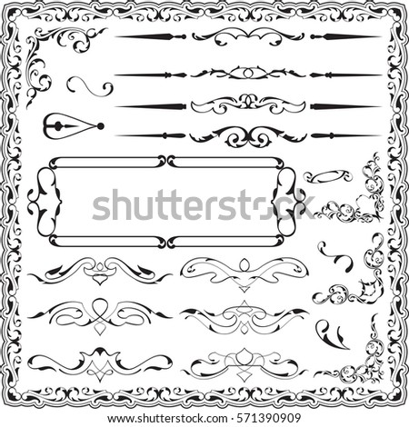 Luxury ornate art swirl set is on white