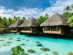 Luxury over water spa bungalows. Bora Bora