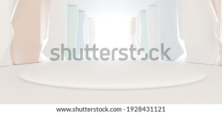 Luxury parametric abstract architectural minimalistic background. Contemporary showroom. Modern colored glass exhibition tunnel. Empty gallery. Backlight. 3D illustration and rendering.