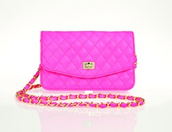 Luxury pink women bag isolated over white