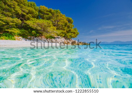Luxury place of lagoon, calm Adriatic Sea. Location Makarska riviera, Croatia, Dalmatia region, Balkans, Europe. Scenic image of popular european travel destination. Discover the beauty of earth.