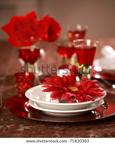 Luxury place setting in red and white  for Christmas or other event