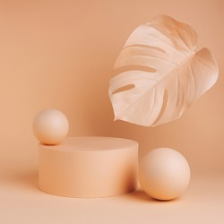 Luxury podium with palm leaf and ball sphere on pastel orange background. Concept scene stage showcase for product, promotion, sale, presentation or cosmetic. Minimal showcase empty mock up template.