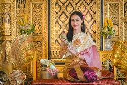 Luxury portrait of a beautiful Thai girl in traditional thai costume, identity culture of Thailand, identity culture of Asia