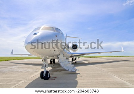 Luxury Private Jet Airplane For Business Flights  Side View Stock Photo 2046