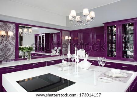 Luxury Purple Kitchen Interior With Modern Furniture