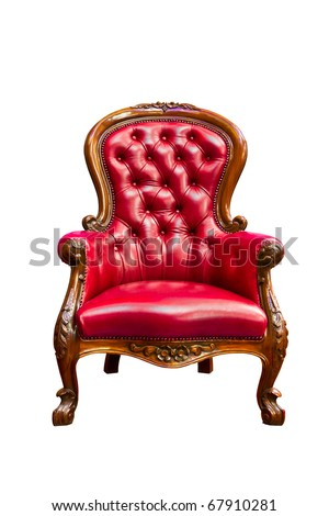luxury red leather armchair isolated