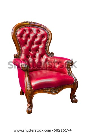 luxury red leather armchair isolated - stock photo