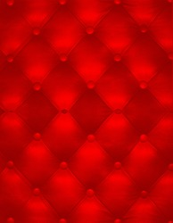 Luxury red leather cushion close-up background. Buttoned on the red Texture. Repeat pattern. texture of padding, Red texture of padding cushion.Vip sofa texture background. Standup red luxury backdrop