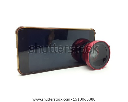 Luxury Red Metallic Selfie Lens with Macro Fish Eye Technology for Phone Camera Accessories in White Isolated Background