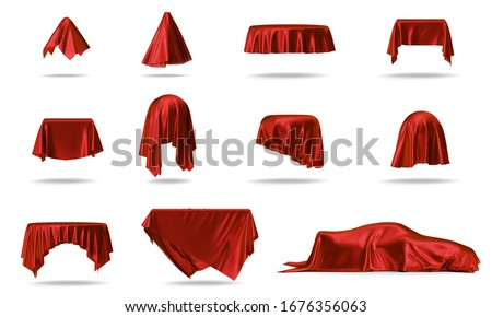 Luxury red silk velvet, cloth covers objects example square table, round table, ball, car. Set of red clothes covers items isolated on white background with shadow, 3D Illustration
