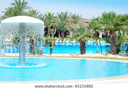 Luxury Resort Pool with garden and full  a in Tunisia.