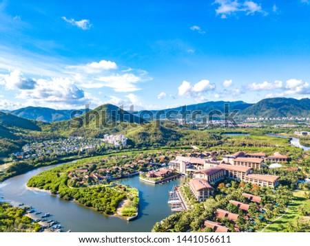 Luxury Resort within Mangrove Tree Forest, including Villas, Yacht Marina and Recreational Beach at Yalong Bay, Sanya, Hainan Island, China. Aerial View.