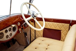 Luxury retro car interior isolated on white background
