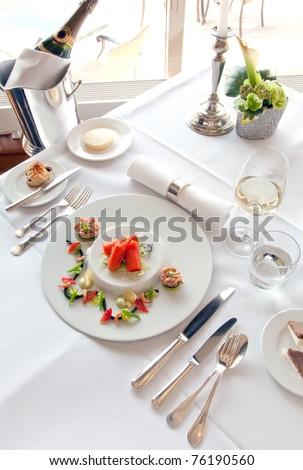 luxury salmon plate  in restaurant