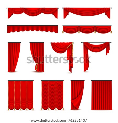 Luxury scarlet red silk velvet curtains and draperies interior decoration design ideas realistic icons collection isolated  illustration