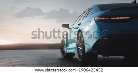 Luxury sedan car sunset scene (non-existent car design, full generic) tail lights detail - 3d illustration, 3d render