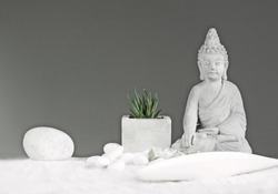 Luxury Spa and Wellness Still life with Buddha statue. Zen and relaxation. Lifestyle