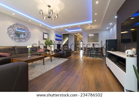 Luxury specious living room interior with modern ceiling lights