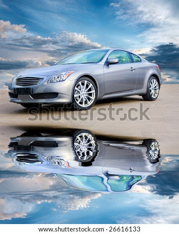 Luxury sports car against bright cloudy sky