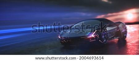Luxury sports car speeding - with motion blur effect (non-existent car design, full generic) - 3d illustration, 3d render
