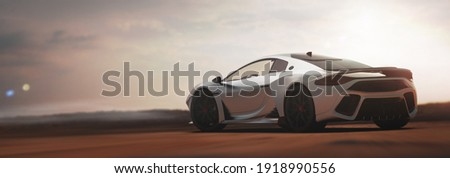 Luxury sports car sunset scene (non-existent car design, full generic) rear-side view - 3d illustration, 3d render Сток-фото ©